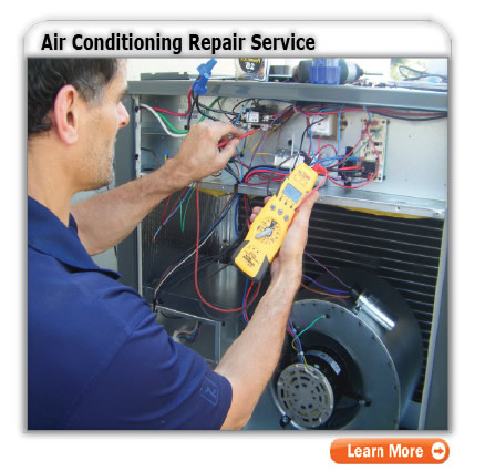 air conditioning repair technician working on the AC system troubleshooting